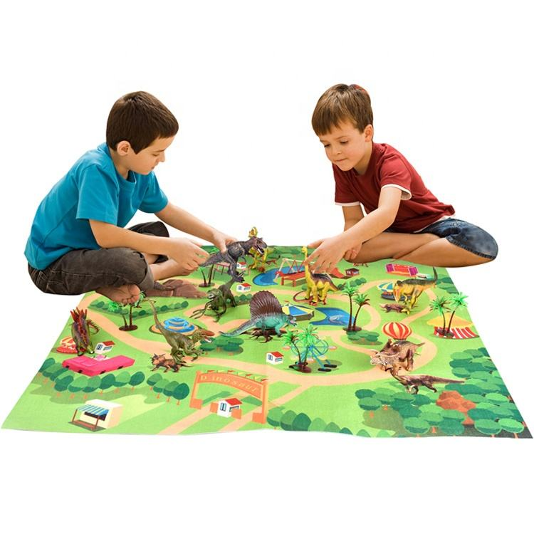 Dinosaur Toy Figure with Activity Play Mat Trees Educational Realistic Dinosaur Set to Create a Dinosaur World