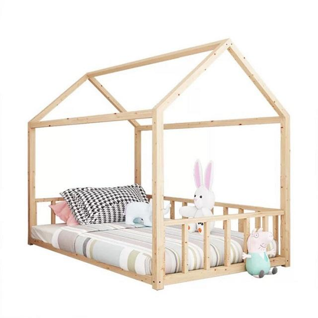 Kids Wooden Modern Toddler House Floor Bed Frame Children Room Furniture King Size Tent Bed For Kids cama