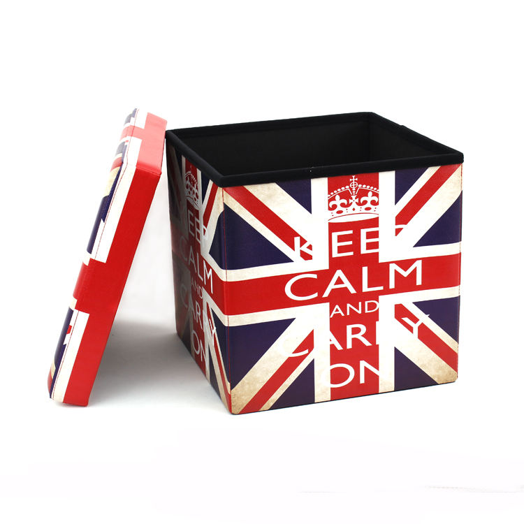 RTS Factory Wholesale Modern living room furniture Printing PVC Leather The Union Jack Storage Ottoman