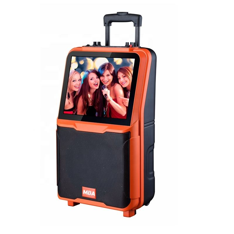 Guangzhou factory price supply 10 inch super bass mobile trolley outdoor speaker dvd speaker with 15 inch LCD screen