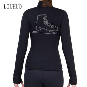 Figure ice skating jackets profession black suits rhinestones women/girls shirts ice skating training suits
