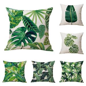 Folhas verdes Da Planta Decorativa Folhas de Palmeira Tropical Rainforest 18x18 Almofada Praça Cotton Linen Throw Pillow Covers Casos