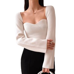 TWOTWIN STYLE Elegant Side Split Knitted Women's Sweater Square Collar Long Sleeve Sexy Sweater Fashion New knitted sweater