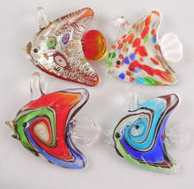 PandaHall Fish Mixed Color Lampwork Glass Pendants