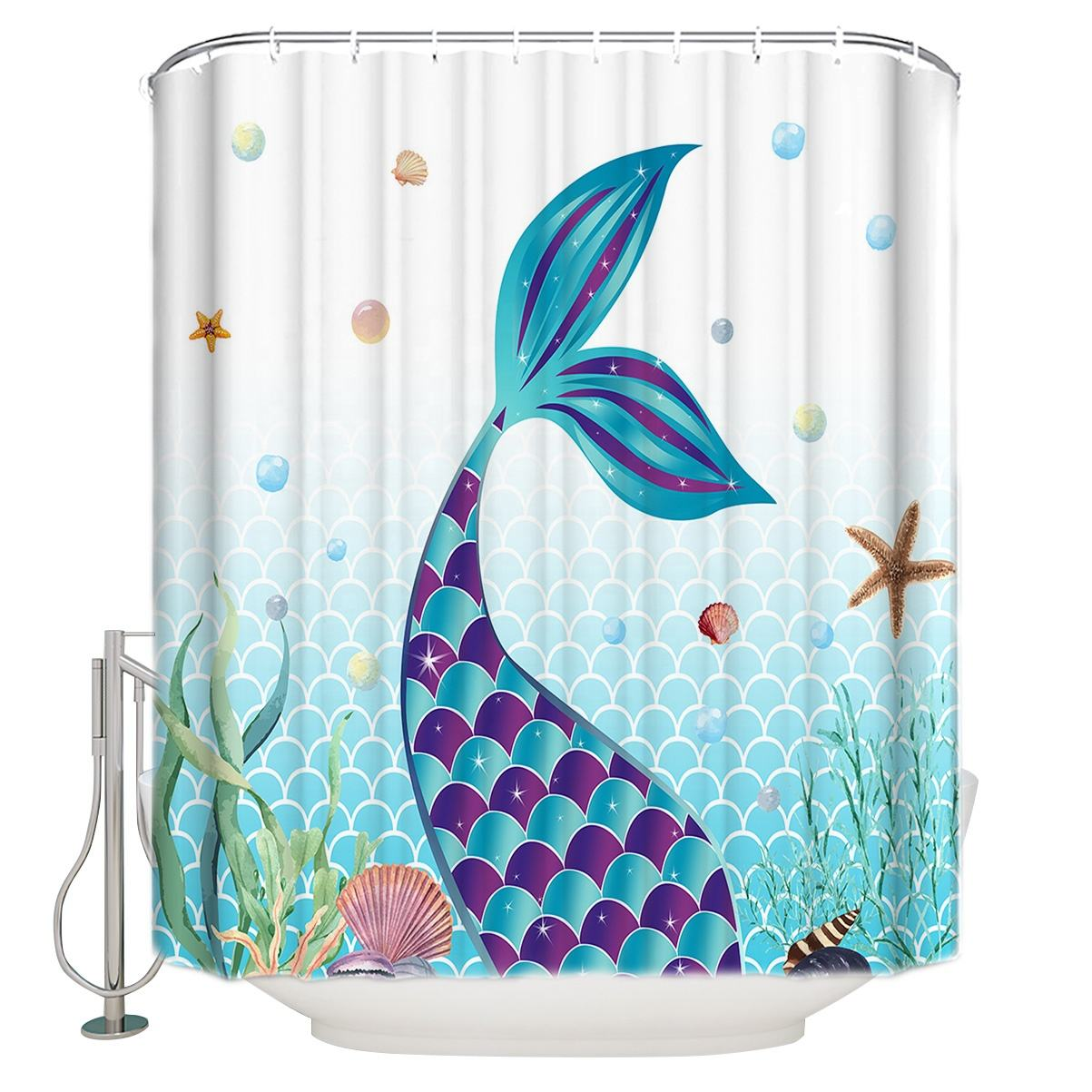 Abstract mermaid tail pattern digital printed bathroom shower curtains for shower room