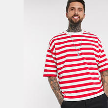 OEM Manufacturer Dropped Shoulder Oversized Striped  T Shirt Men Hip Hop T-Shirt Men