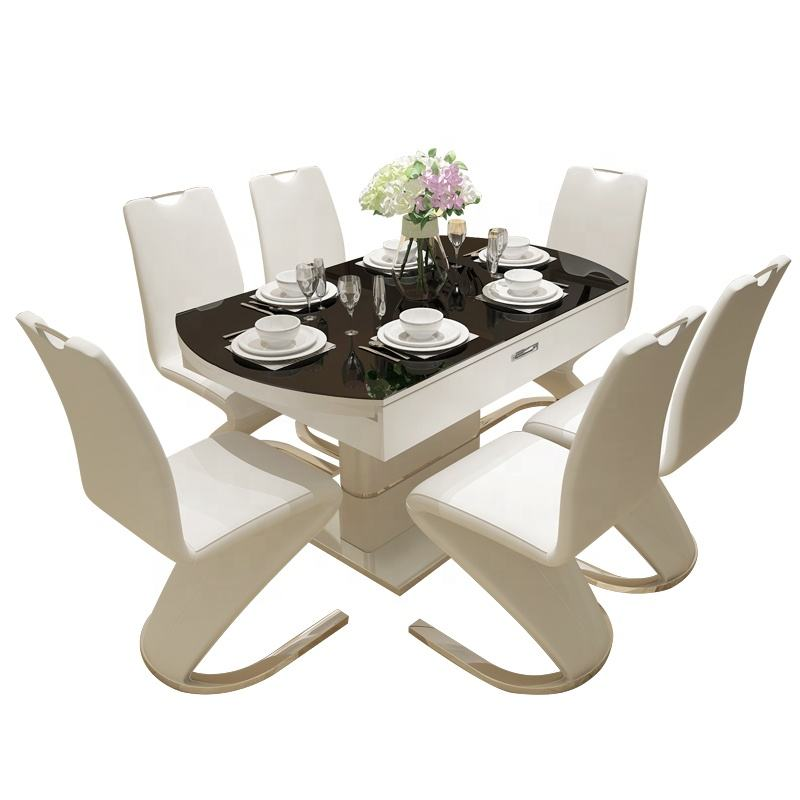 Home furniture luxury dining room table sets Round folding dining table set 6 8 seater chairs stainless steel dining table base