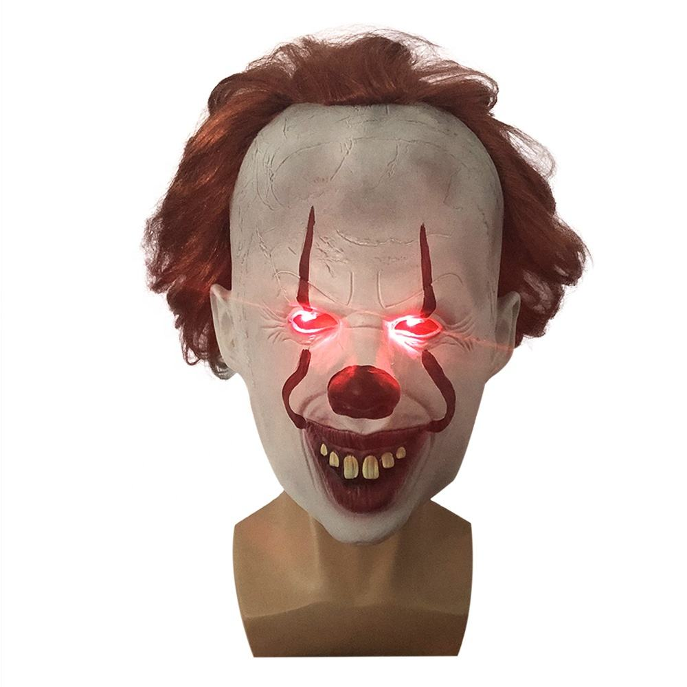 Hot sell Stephen King's Mask Pennywise Horror Clown Light up LED Joker Mask Helmet Cosplay Costume Halloween mask