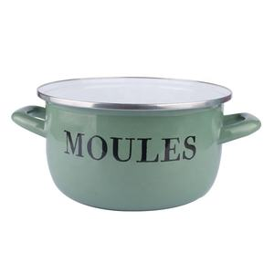 24cm Eco green porcelain glazed steel seafood cooking pot mussel metal pot enamel cookware with stainless steel rim