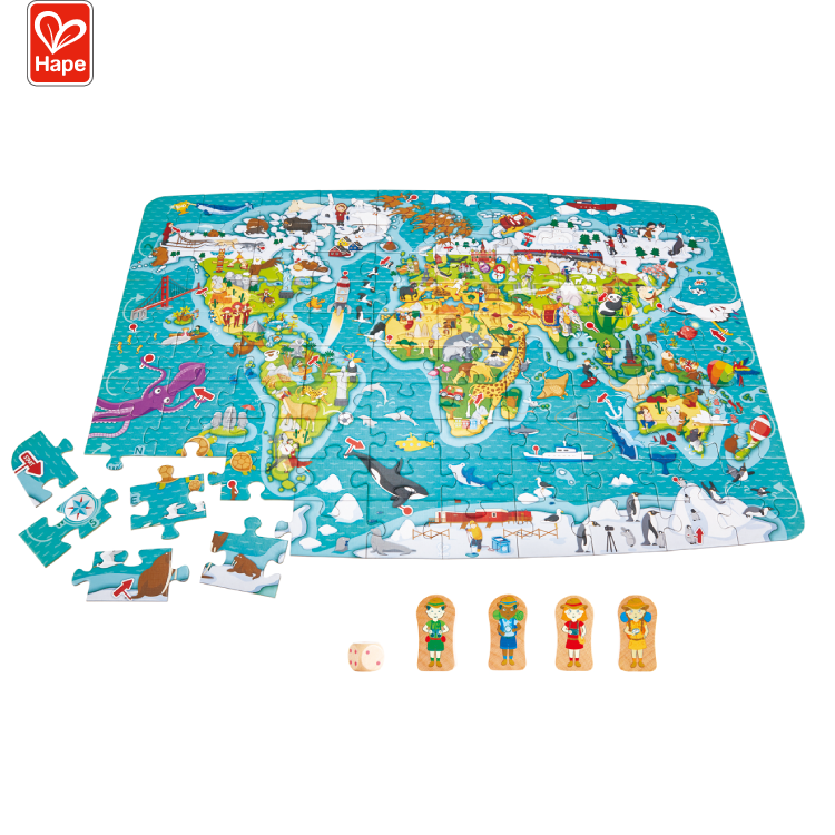 Environmentally Friendly Wooden Toddlers Puzzle 2-in-1 World Map Puzzle And Game