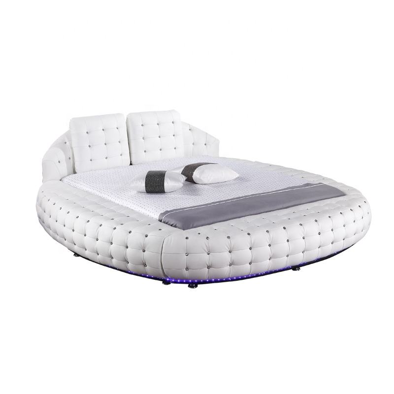 China Manufacturer Offer High Quality Competitive Leather LED Round Bed with Button