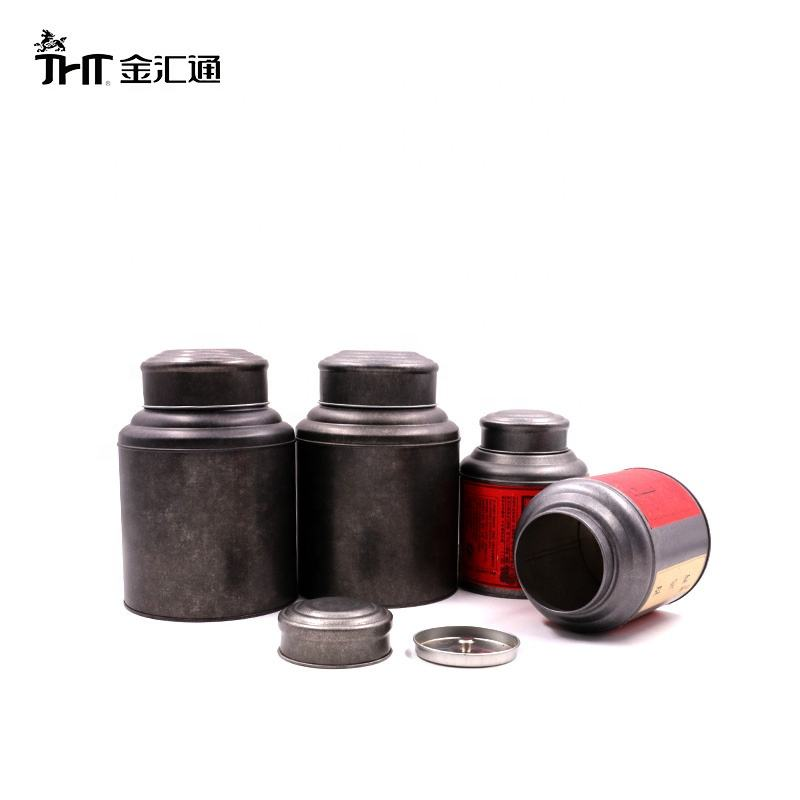 Hot sale Wholesale accept custom Black round metal tea tin can round tinplate can most popular high quality tea tin canister