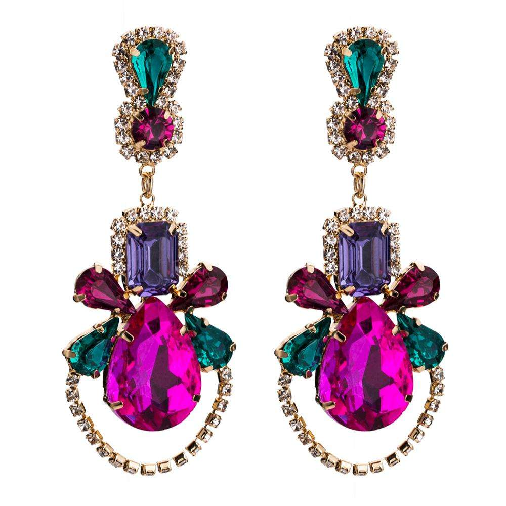 2020 Fashion Jewelry Women Earrings Boho Vintage Rhinestone Acrylic Statement Earring Crystal Flower Large Resin Earrings