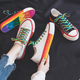 2019 Wholesale latest custom blank ladies casual sneakers Fashion rainbow multi - color rubber sole white canvas shoes women
