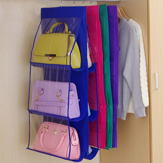 8 Colors 6 Pocket Hanging Handbag Organizer for Wardrobe Closet Transparent Storage Bag Door Wall Manufacturer