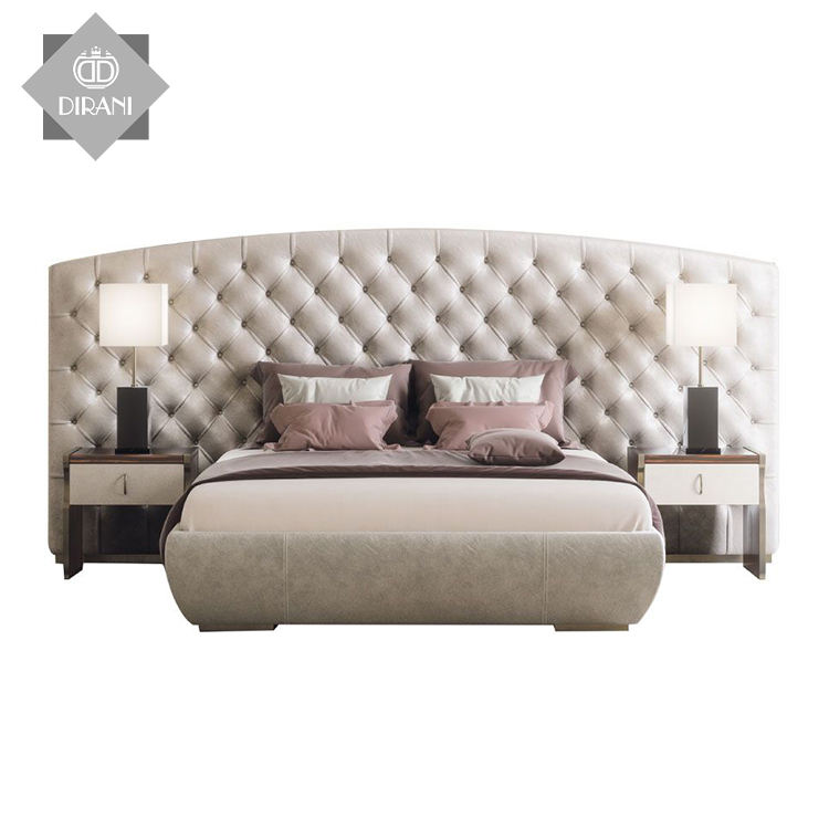 KESY luxury solid wooden foam padding wedding beds king queen size double bed with upholstered headboard
