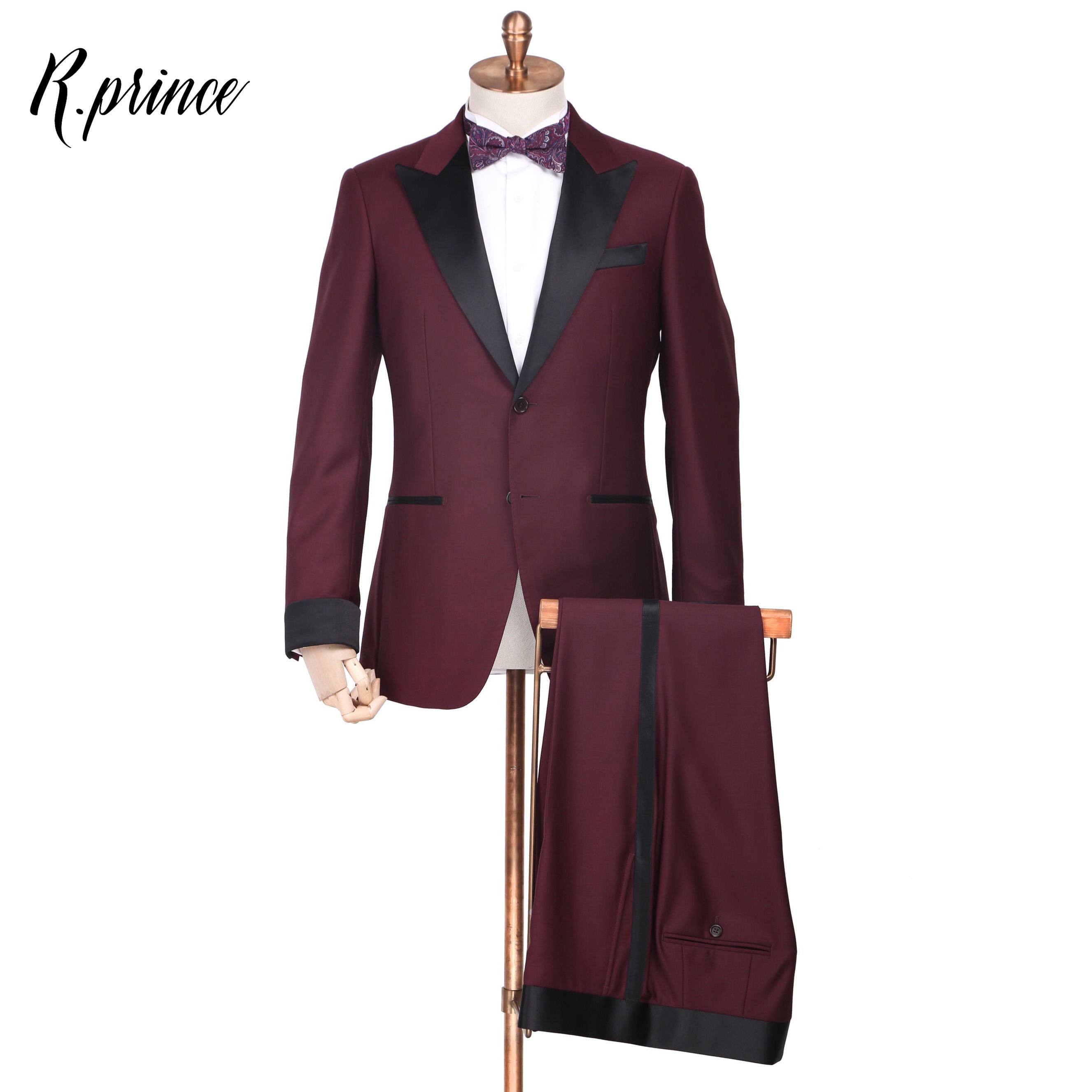 R.Prince Men's Customized Tuxedo Suits Fashion Wear Perfect Quality Classic Men's 2 Piece Tuxedo Outfit 100% wool
