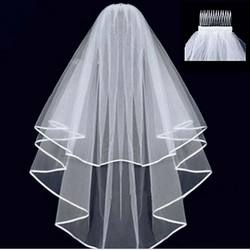 One Layers White High Quality Wedding Veil With Pearl Soft Bride Veil For Women