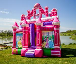 Newest princess combo inflatable castle, castle house kids playground inflatable bouncy toys