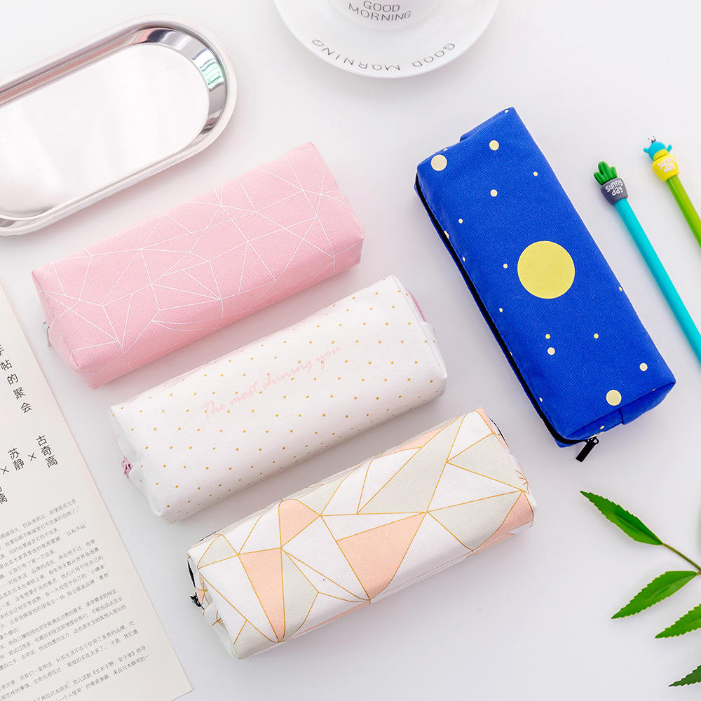 Creative student stationery star zipper pencil case Multi-function large capacity canvas pencil case