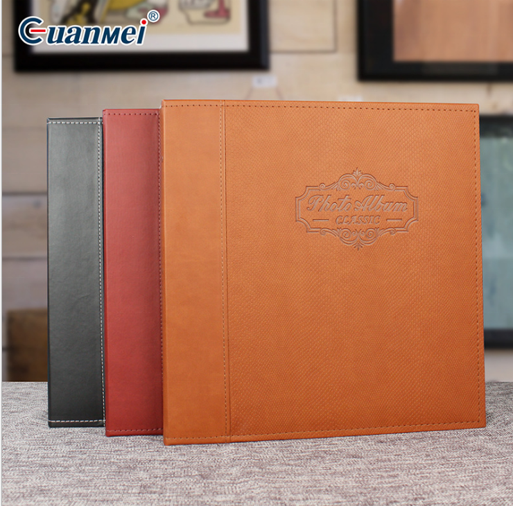 Guanmei design 215*325mm Photo Album 40 pages Self adhesive Family Photo albums 12x12 Leather bound scrapbook album