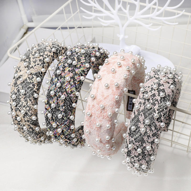 2021 Fashion Korean Wide Thick Turban Padded Hair Hoops Wool Fabric Knitting Nylon Sponge Padded Pearl Headband Jewelry