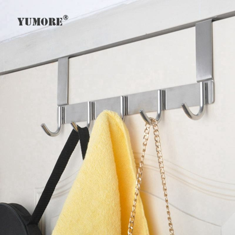 YUMORE Heavy Duty Coats Robe Hats Clothes Towel Hanging Rack Organizer Space Saving Bathroom Stainless Steel Over The Door Hooks