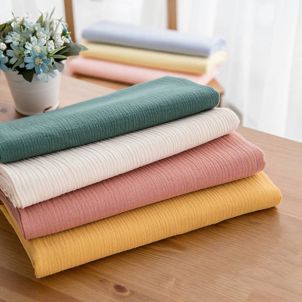 Per meter price wrinkle textiles 100% cotton double gauze fabric for baby
