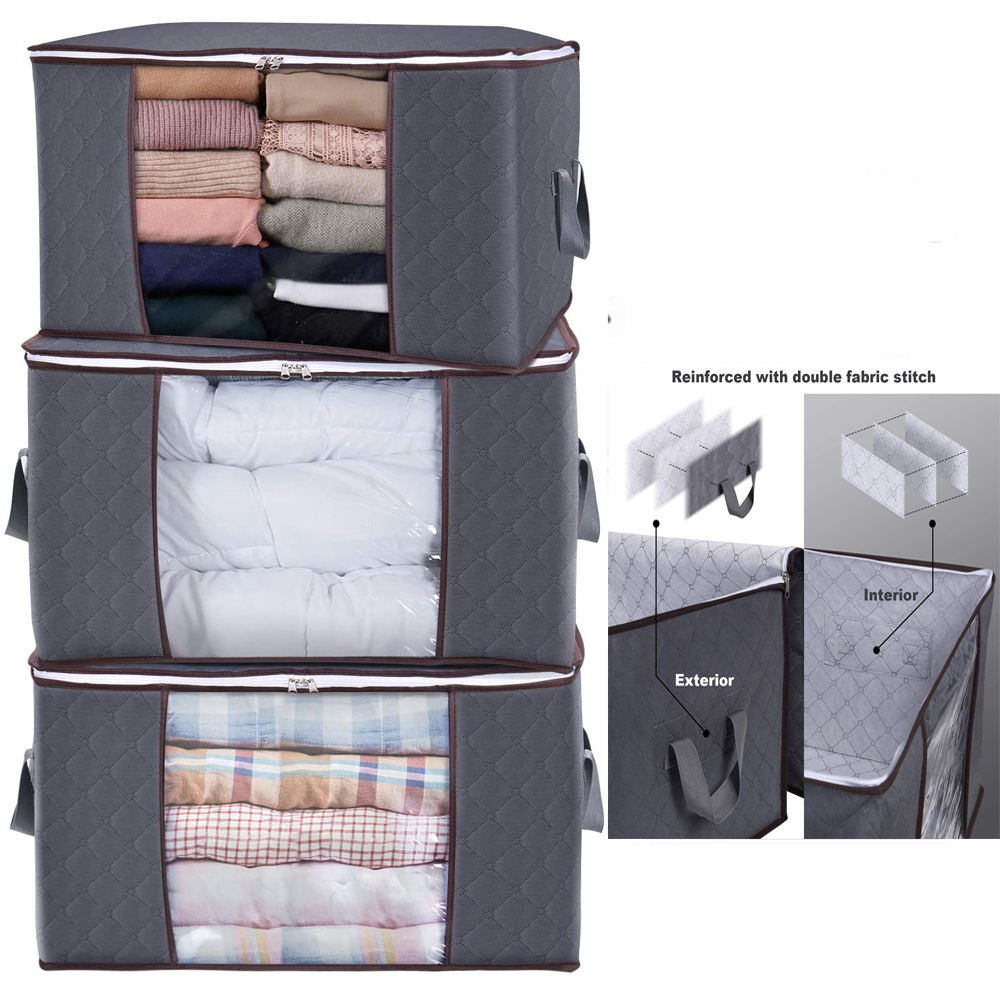 400104 Large Capacity Fabric Blanket Quilt Bag 3 PACK 90L Underbed Clothes Storage Bag Organizer for Clothes Organizer