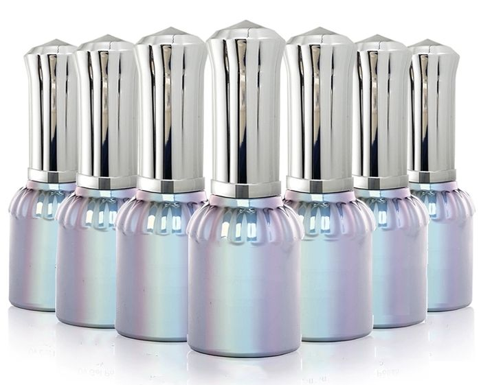 15ml Empty Glass Nail Polish silver Bottles Cosmetic Jars Container With Cap and Soft Brush For DIY Nail Art Make Up(Silver Lid)