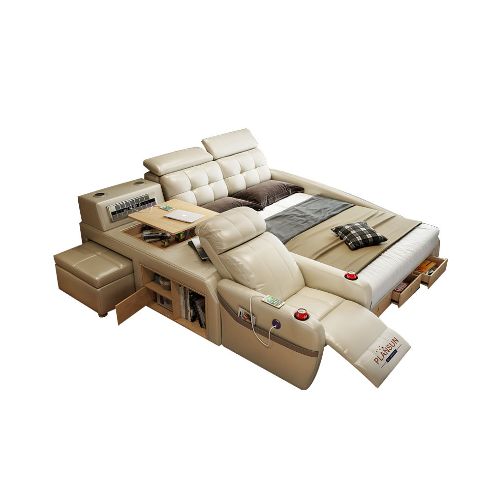 Good Design Message Genuine Leather Bed Multi機能Smart Bed With Recliner Sofa Chair King Size Beds