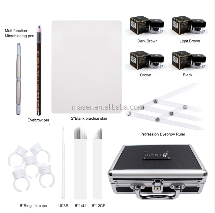 Biomaser Pigment Tattoo Eyebrow Training Starter Microblading Kits for Eyebrow Embroidery