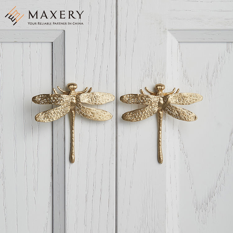 Maxery Good Looking Dragonfly Cabinet Handles For Furniture Solid Brass Handles For Kitchen Cabinet Handles For Home Decor