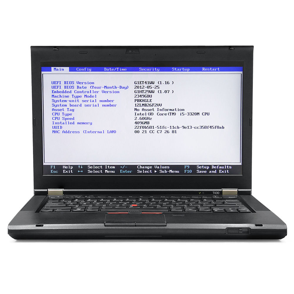 Second Hand T430 I5-3320M 2.60GHz 4GB Diagnostic Laptop With 500G HDD used with MB SD C4/C5/C6 Diagnostic Tools/Programmer