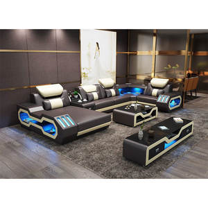 Latest modern design LED U shaped luxury sectional leather couch home furniture living room sofa set
