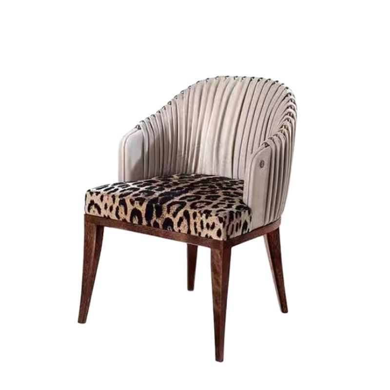 European High End Dining Room Furniture Leather Back with Leopard-Print Upholstery Luxury Dining Chair