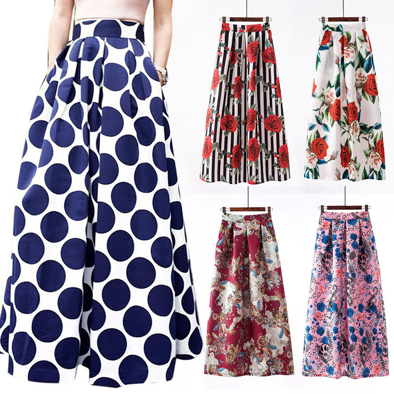 Casual pockets long skirt dress Vintage elegant digital floral dot print A line long skirt