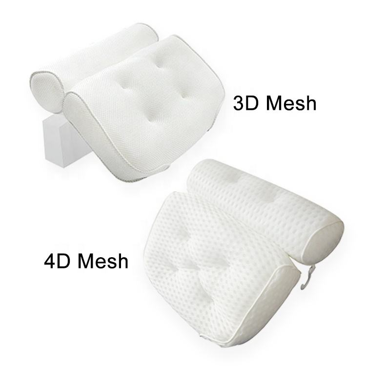Wholesale Luxury ECO Friendly Home Non Slip Waterproof 3D Mesh Wedge Tub Spa Bath Pillow With Suction Cups