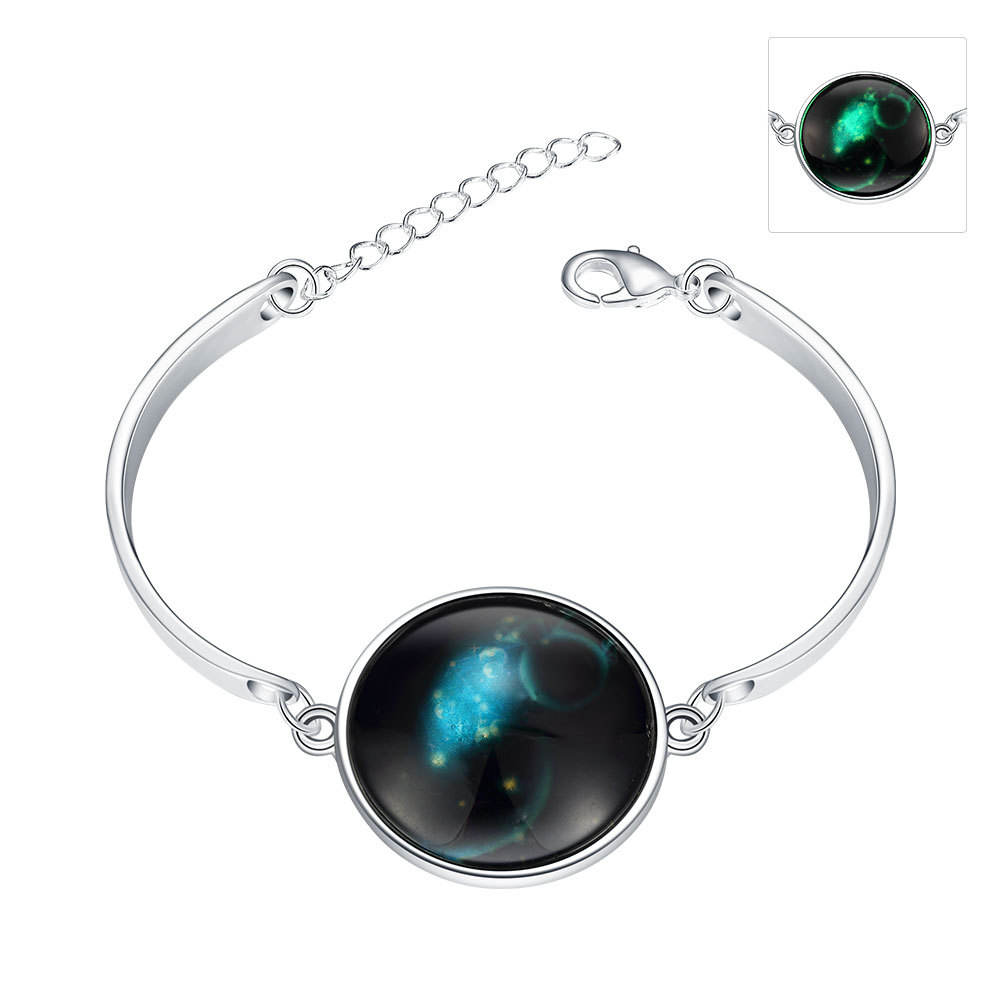 Halloween fluorescent adjustable silver plated bracelet for women