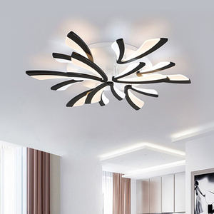 Living Bedroom Fixtures Black With Remote Design Modern LED Ceiling Lights