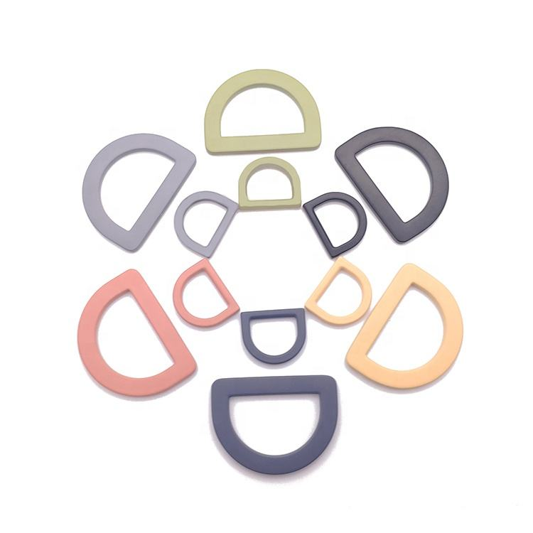 New designed 13mm and 15mm colorful painted zinc alloy d ring leather accessories for bag handles