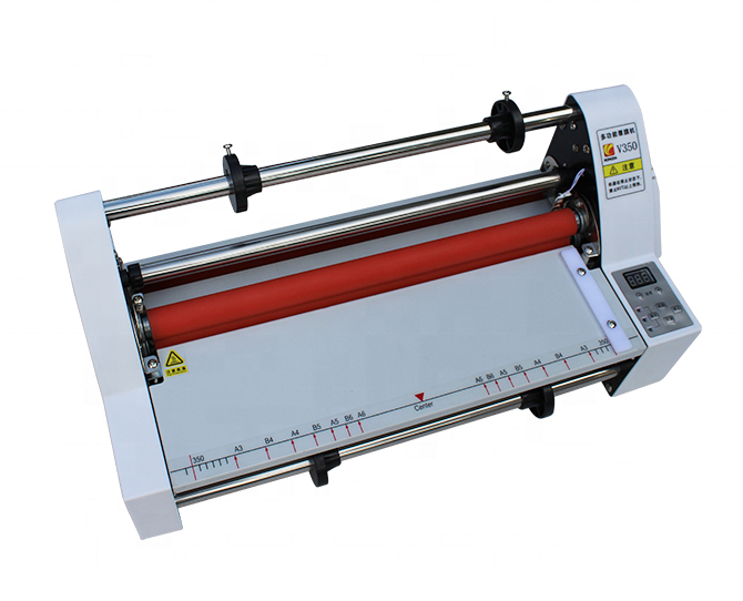 V-350 Digital Display Single&Dual Sided Laminating Machine 4 Rollers Hot Cold Roll Laminator for BOPP PTE Film