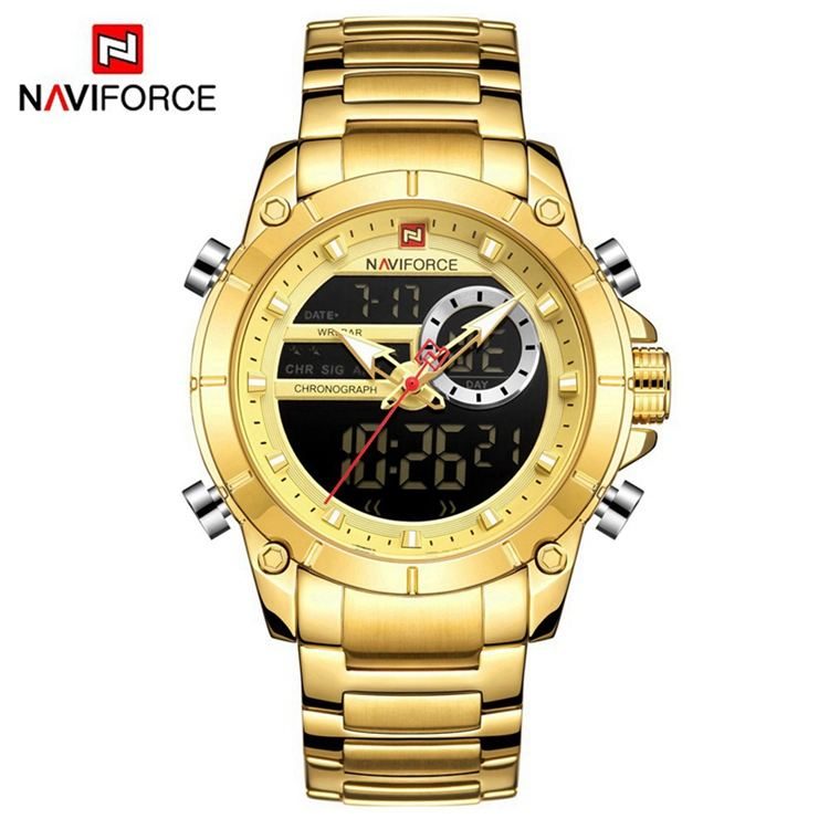 NAVIFORCE NF9163 Luxury Big Gold Hot Sale Watch Charm Stainless Steel Straps Quartz Digital Watches For Men