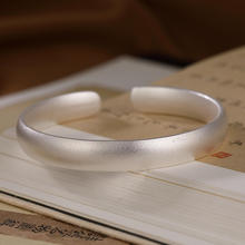 Pure 999 Silver Buddhist Heart Sutra Bangle Scrub Bracelet Femme Argent Scripture Bracelet Chinese Religious Jewelry