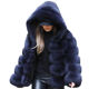 New Fashion Short Ladies Winter Coats Cropped Hood Women Faux Fox Fur Jacket Coats