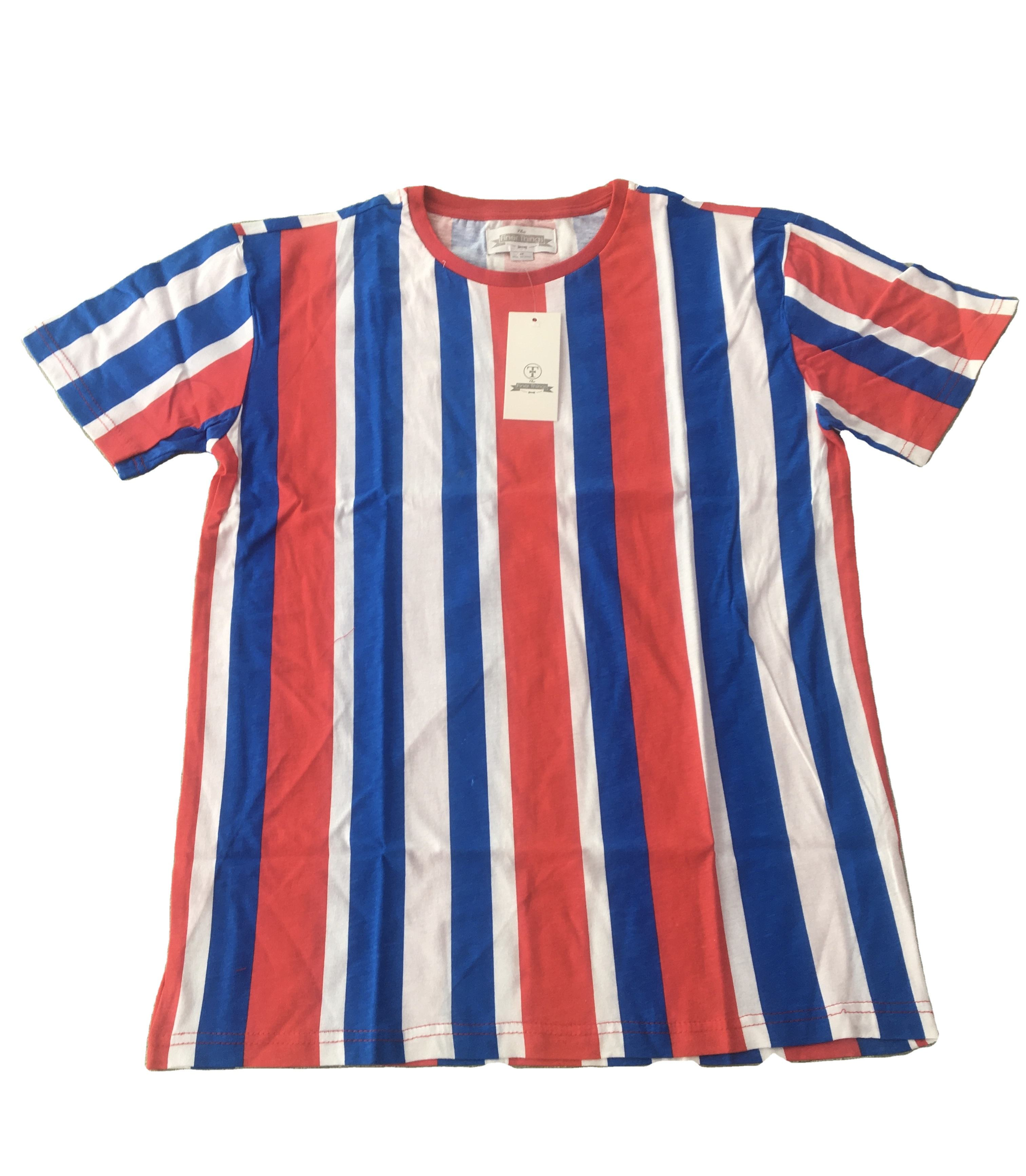 Men T Shirt Cotton Embroidery Short Sleeved Strip Tshirts Vertical Stripe T Shirt