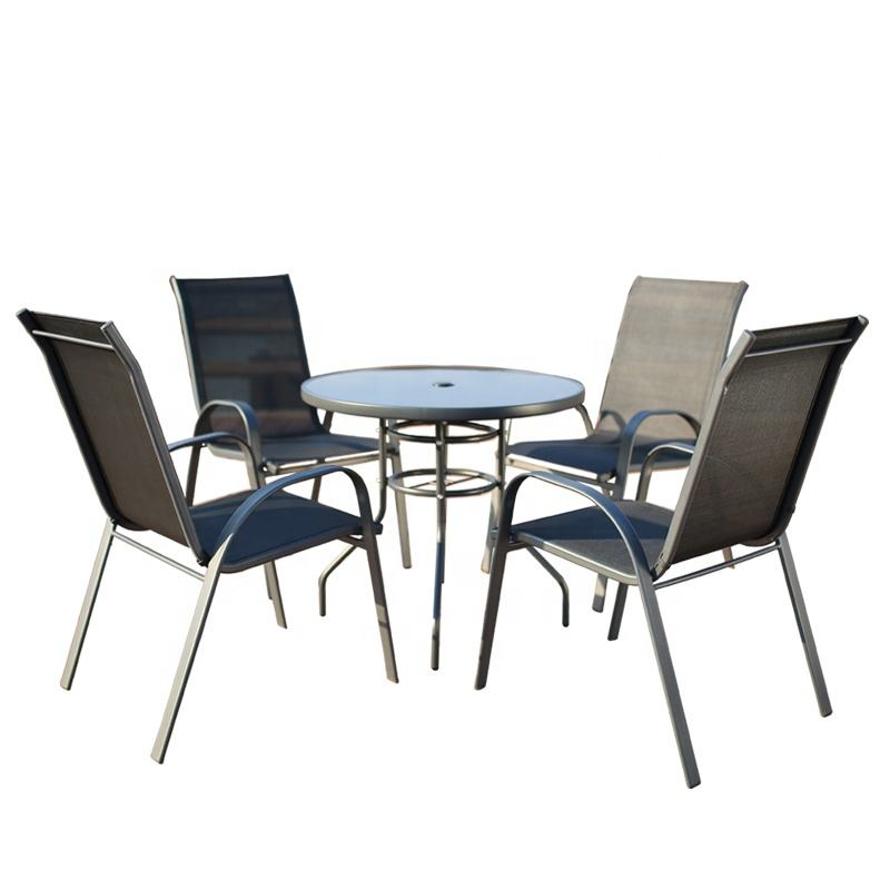 China Manufacturer Dining Chair Square Table 4Seater Table Patio Outdoor Furniture 5Pcs Garden Set