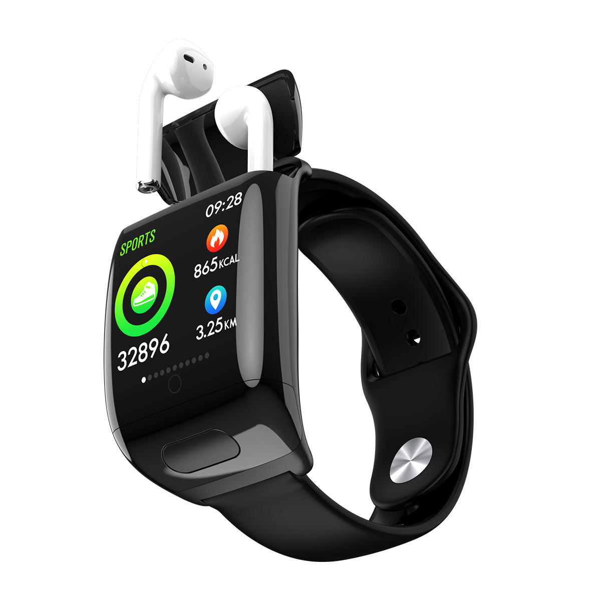 D8 TWS Dual Bluetooth Call Earphone Smart Bracelet Watch 2 in 1 Men Women Heart Rate Monitoring Smart Watch