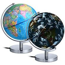 Dipper 8 inches Illuminated Constellation World Globe for Kids with Stand, Built-in LED Light Illuminates for Night View