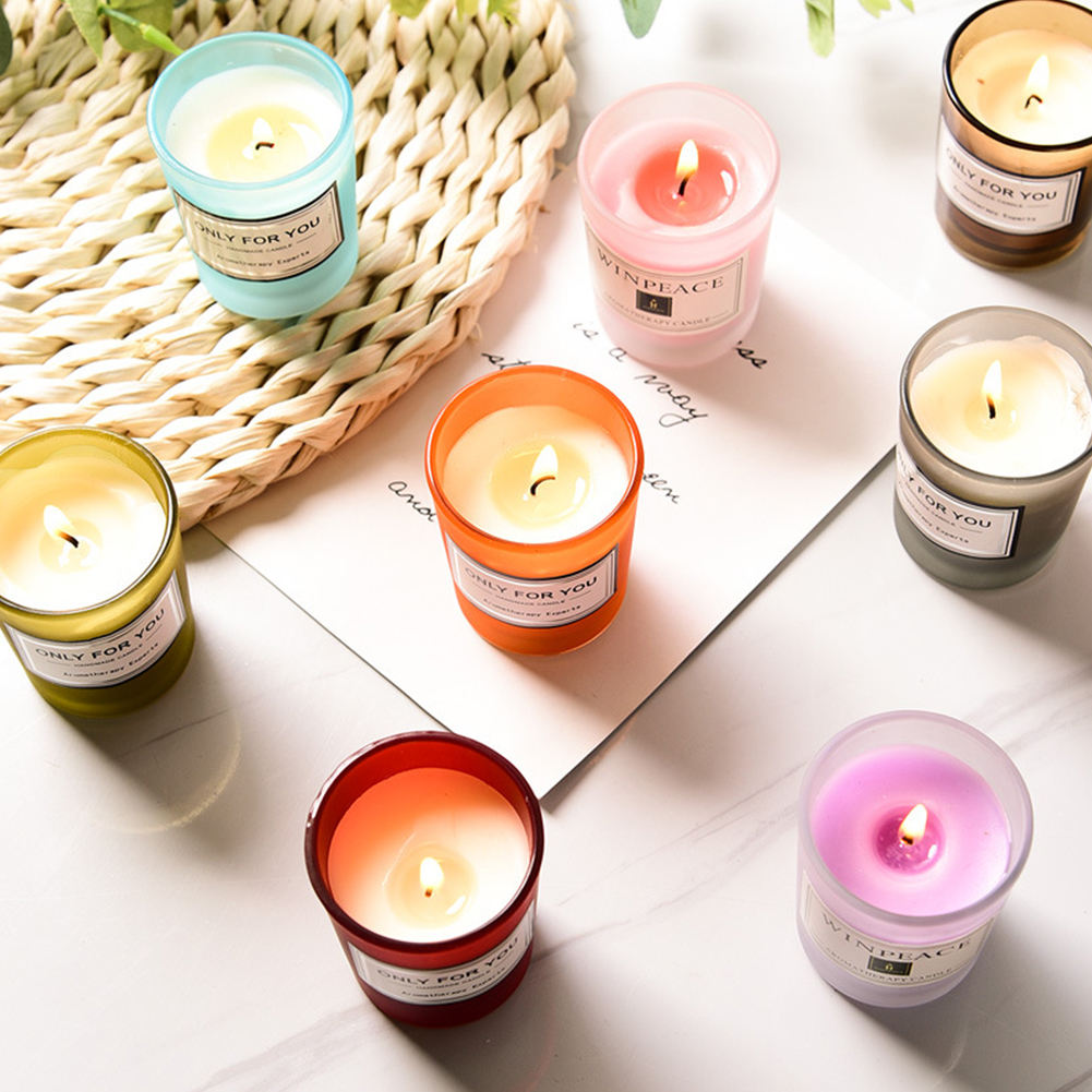 TOMAS Special Design Widely, Used Colorful Glass Jar Scented Candle With Folding Box/